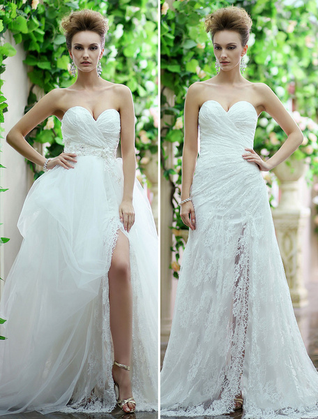 Milanoo Summer Wedding Dresses 2020 Ivory Strapless Lace Split Maxi Beach Bridal Gowns With Detachable Train