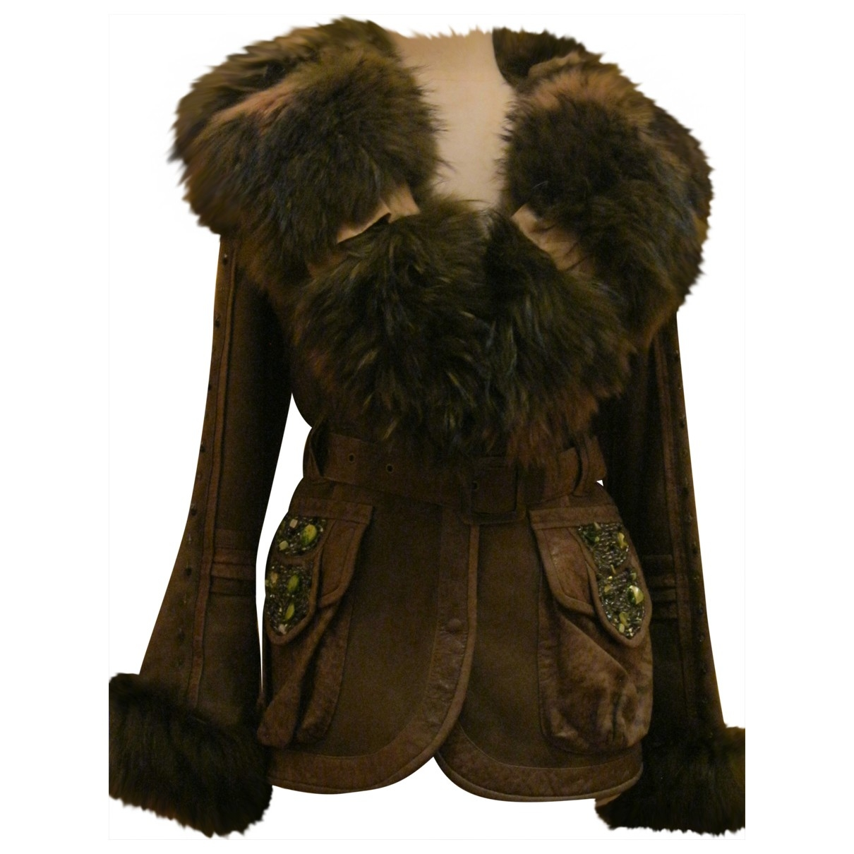 Class Cavalli \N Khaki Shearling coat for Women 42 IT