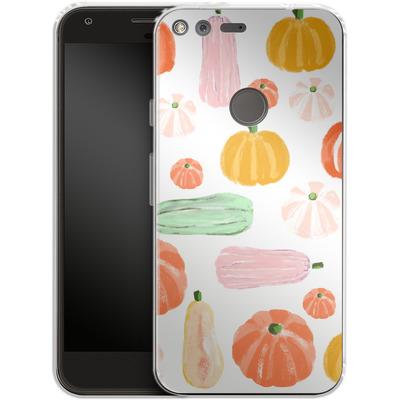 Google Pixel Silikon Handyhuelle - Pumpkin Pattern White von Mukta Lata Barua