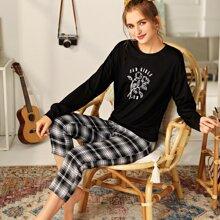 Schlafanzug Set mit Blumen und Buchstaben Grafik und Karo Muster