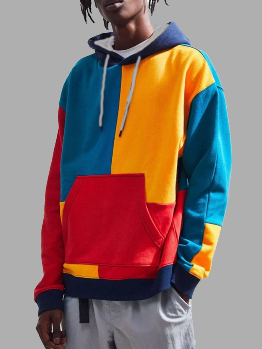 LW Lovely Trendy Hooded Collar Color-lump Patchwork Multicolor Men Hoodie