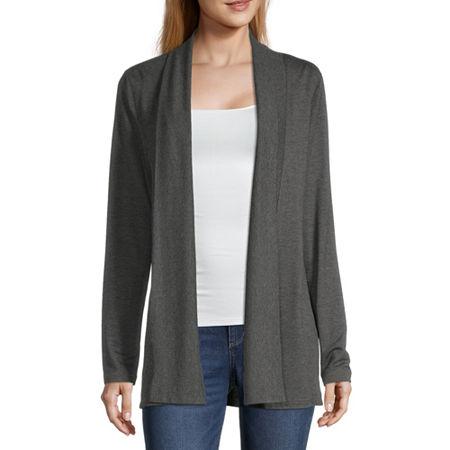 Liz Claiborne Womens Long Sleeve Open Front Cardigan, X-large , Gray
