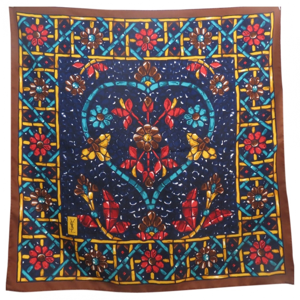 Yves Saint Laurent \N Burgundy Silk Silk handkerchief for Women \N