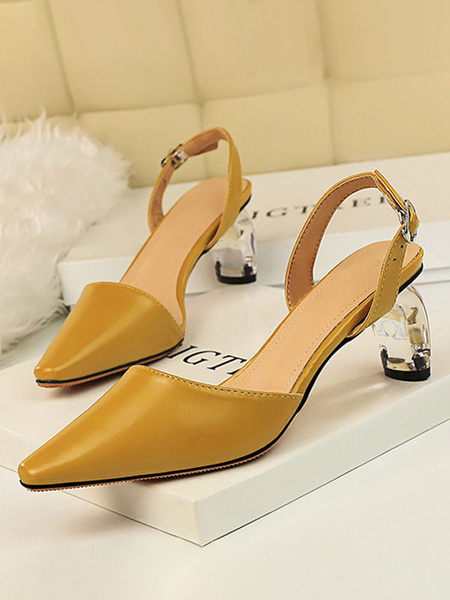 Milanoo Mid-Low Heels For Women Elegant Pointed Toe Special-Shaped Heel Strap Adjustable Glamorous Pumps