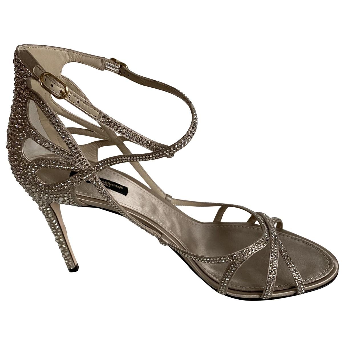 Dolce & Gabbana - Sandales   pour femme en a paillettes - dore