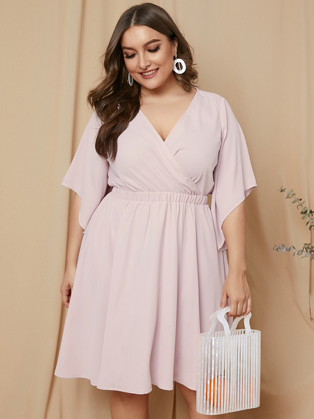 YOINS Plus Size Wrap Design V-neck Half Sleeves Dress