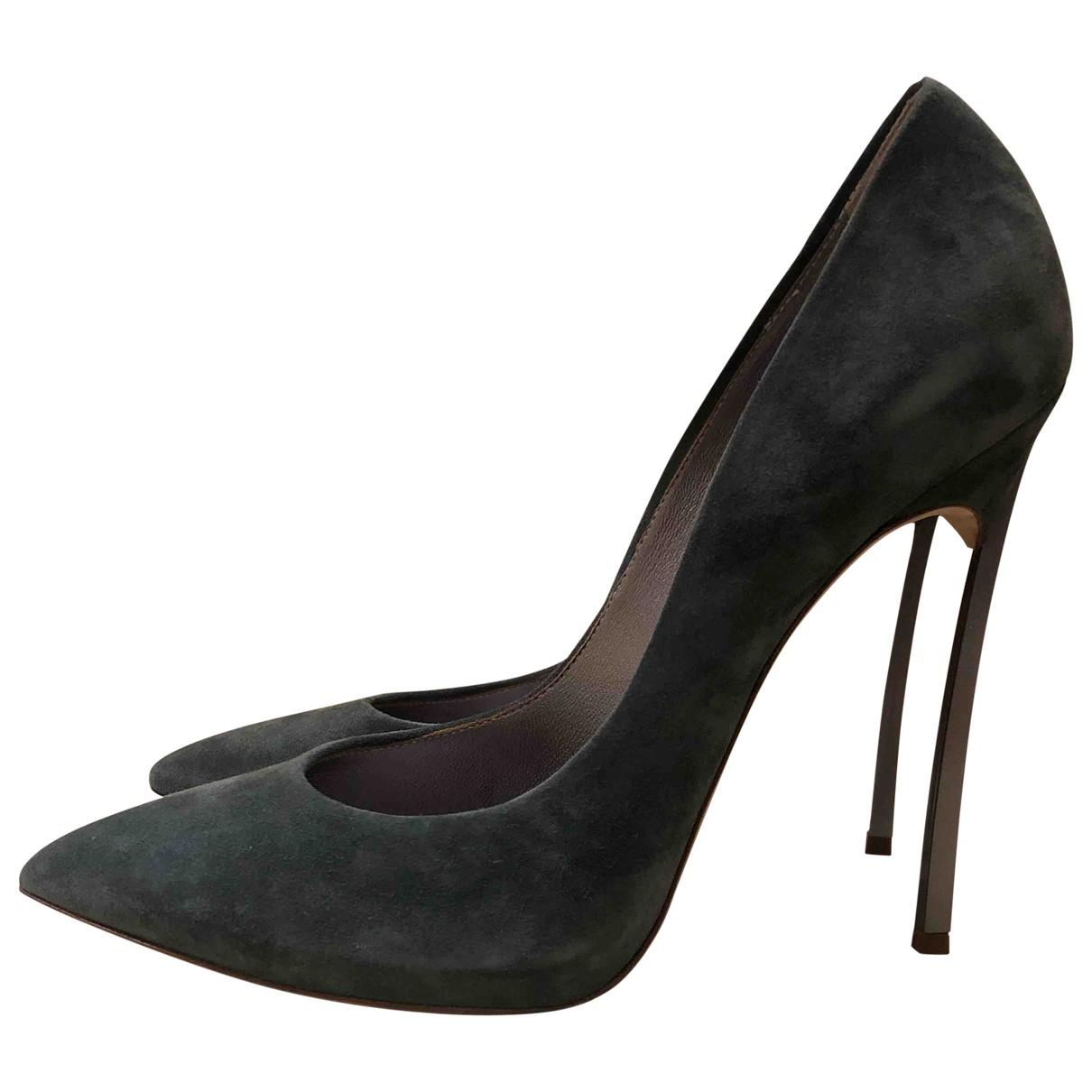 Casadei N Green Suede Heels for Women 9.5 US