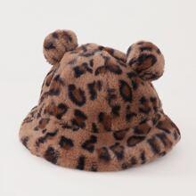 Sombrero cubo de niñitas de leopardo
