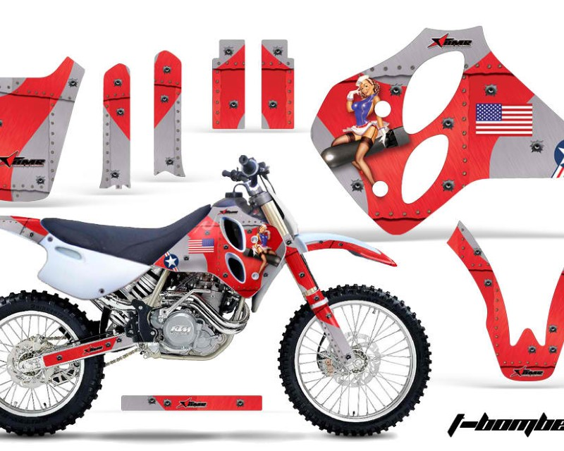 AMR Racing Dirt Bike Graphics Kit Decal Sticker Wrap For KTM SX/XC/EXC/LC4 1993-1997áTBOMBER RED