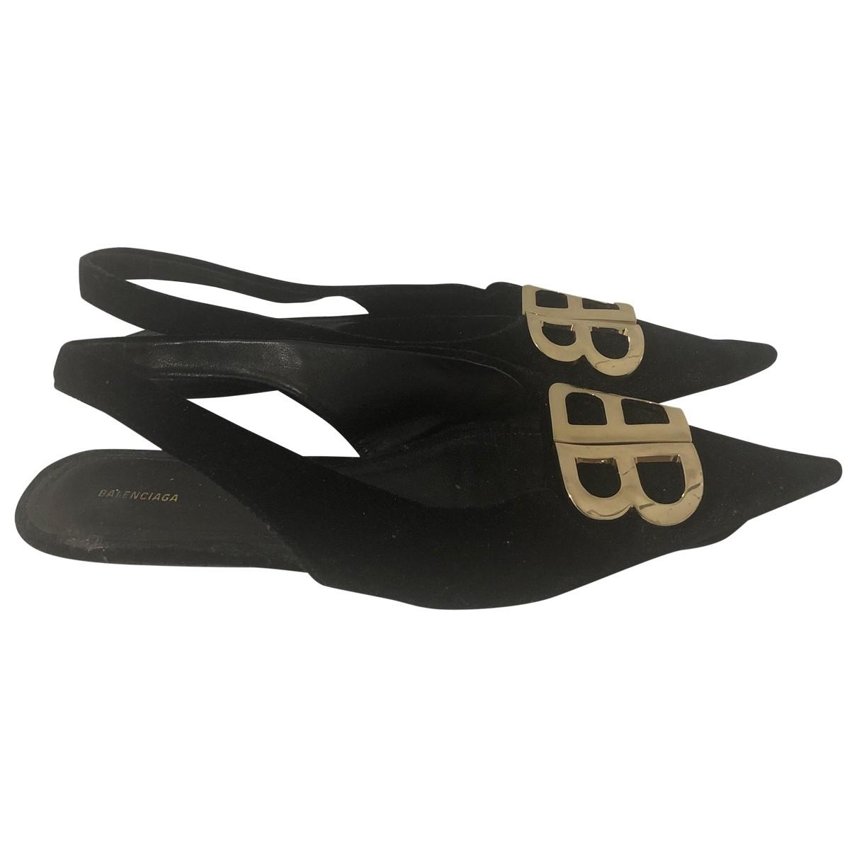 Balenciaga BB Black Suede Ballet flats for Women 6 UK