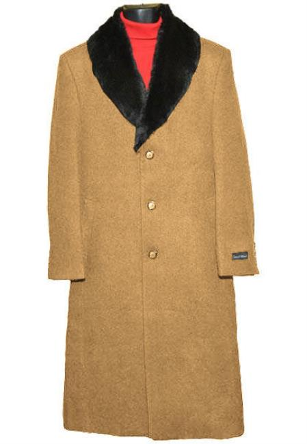 Men's Collar Camel 3Button Single Breasted Wool Full Length Overcoat