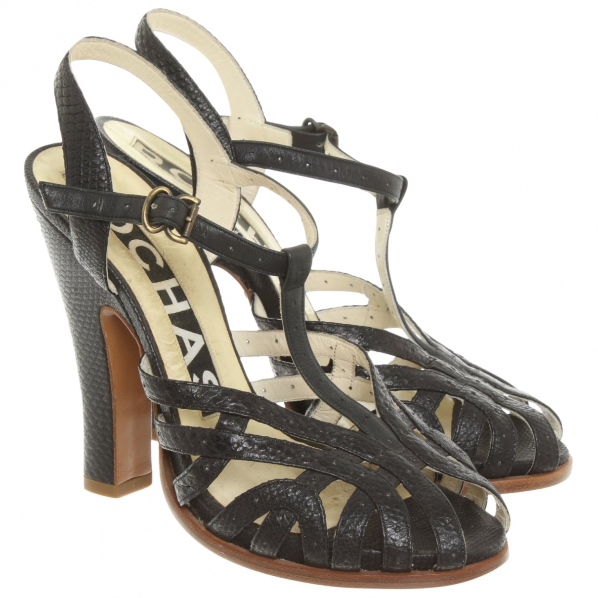 Rochas \N Brown Leather Sandals for Women 37 IT