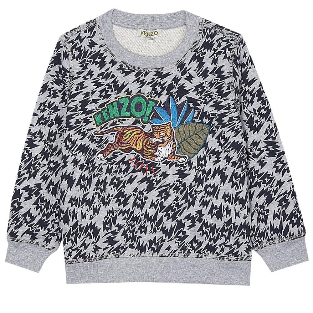 Kenzo Kids Tiger Leopard Print Sweatshirt Grey  Colour: GREY, Size: 10 YEARS