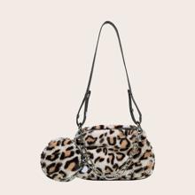 Bolso de hombro con estampado de leopardo con monedero
