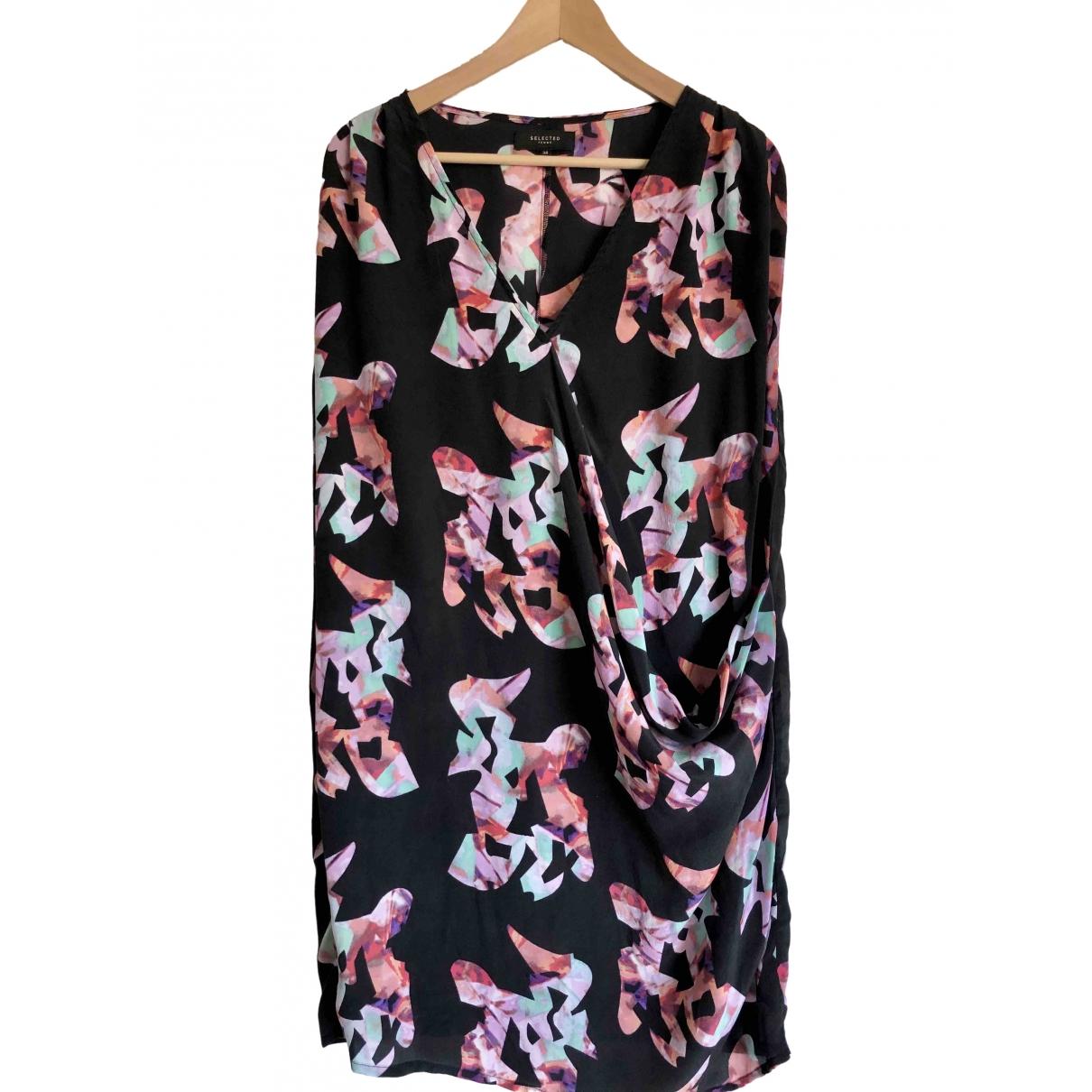 Selected - Robe   pour femme en soie - noir
