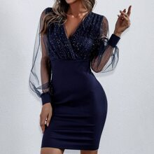 Contrast Mesh Wrap Fitted Dress