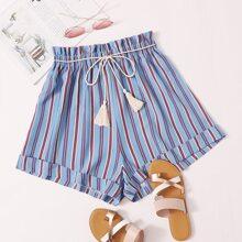 Stripe Print Wide Leg Shorts With Fringe Belt