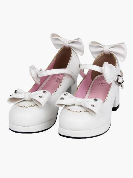 Milanoo White Lolita Heels Bow Scalloped Buckle PU Lolita Shoes