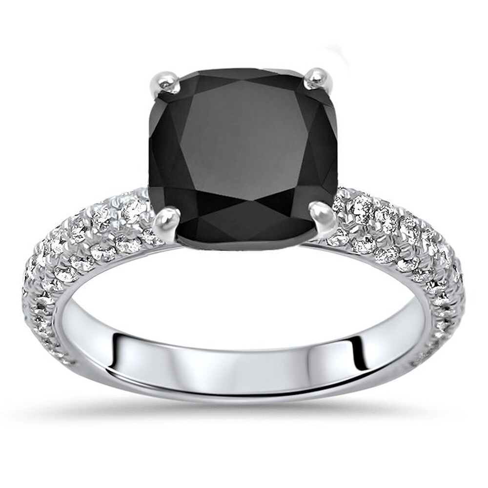 14k White Gold 3.45ct Cushion Cut Black Diamond Pave Engagement Ring (5)