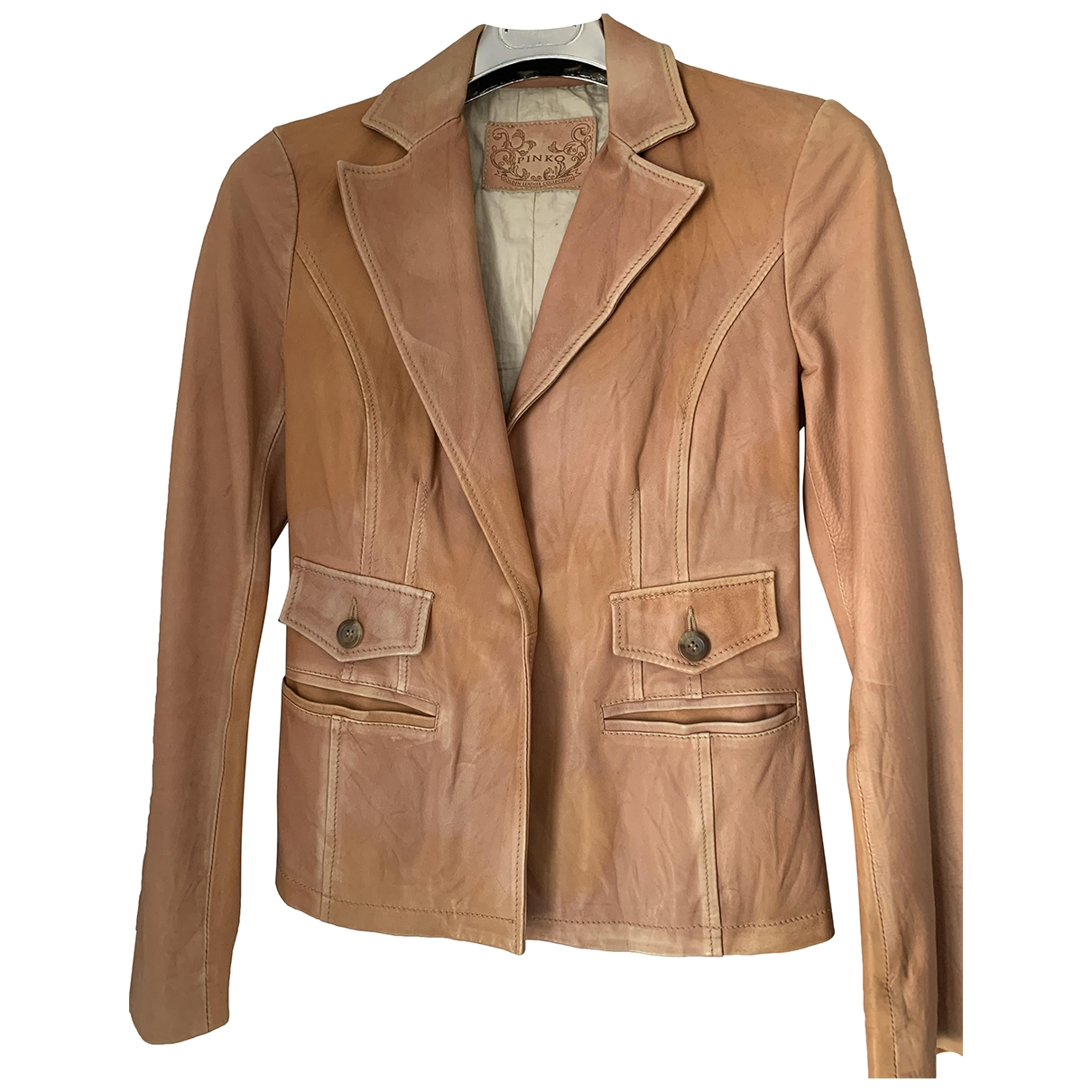 Pinko \N Camel Leather Leather jacket for Women 42 IT
