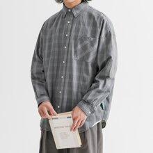 Men Patch Pocket Plaid Shirt