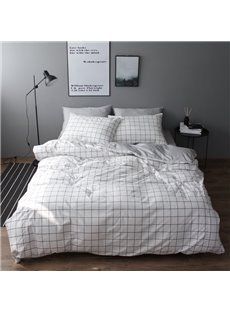Minimalist Style Plaid Print 4-Piece Cotton Duvet Cover Set