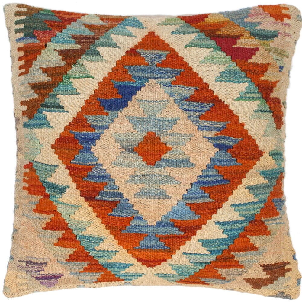 Tribal Loyd Hand-Woven Turkish Kilim Throw Pillow 18 in. x 18 in. (Accent - 18 in. x 18 in. - Polyester - Rust - Single)