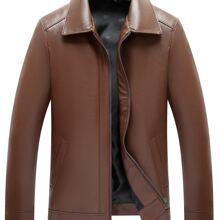 Men Sherpa Lined PU Leather Jacket