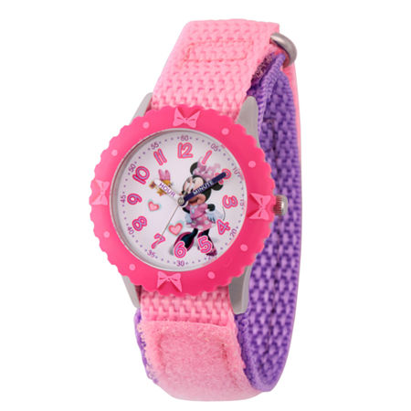 Disney Minnie Mouse Girls Pink Strap Watch-Wds000161, One Size , No Color Family
