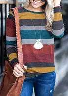 Striped Long Sleeve O-Neck Blouse without Necklace - Multicolor