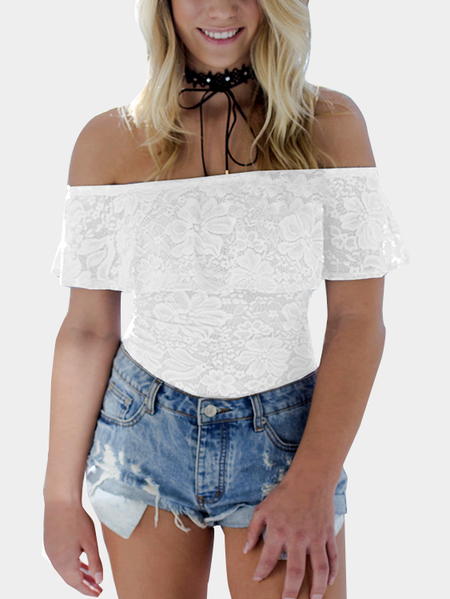 Yoins White Off-The-Shoulder Overlay Lace Bodysuit
