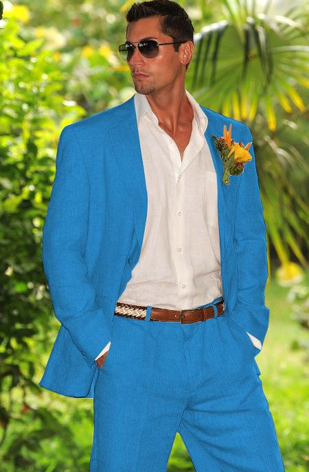 Mens French Blue 1 Linen Suit in Mens & Boys Sizes