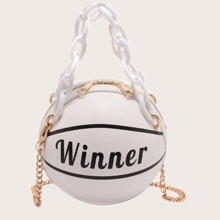 Letter Graphic Ball Shaped Satchel Bag