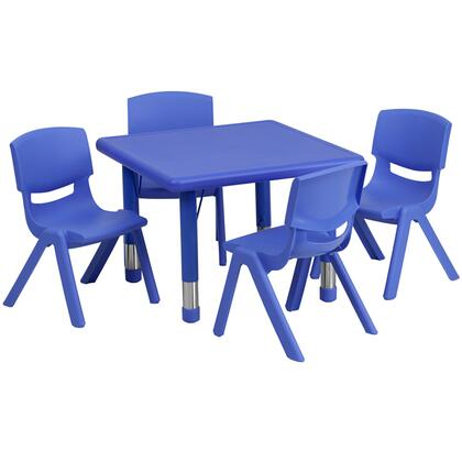YUYCX Collection YU-YCX-0023-2-SQR-TBL-BLUE-E-GG Kids Activity Table Set with 4 Stackable Chairs  Adjustable Height Steel Legs  Safety Rounded