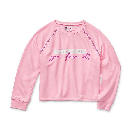 Xersion Little & Big Girls Round Neck Long Sleeve Sweatshirt, Large (14) , Pink