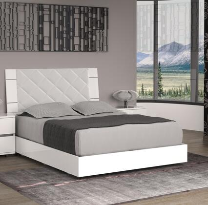 Diamanti Collection TC-9001-KW King Size Bed with Low Profile  Light Grey Eco-Leather High Headboard Upholstery  Stainless Steel and High Gloss