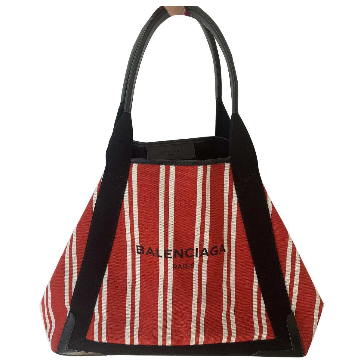 Balenciaga Navy cabas Red Cotton handbag for Women \N