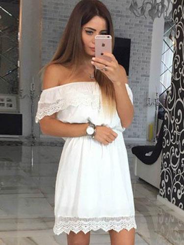 Milanoo White Skater Dress Off The Shoulder Lace Short Sleeve Ruffles Womens Short Dresses