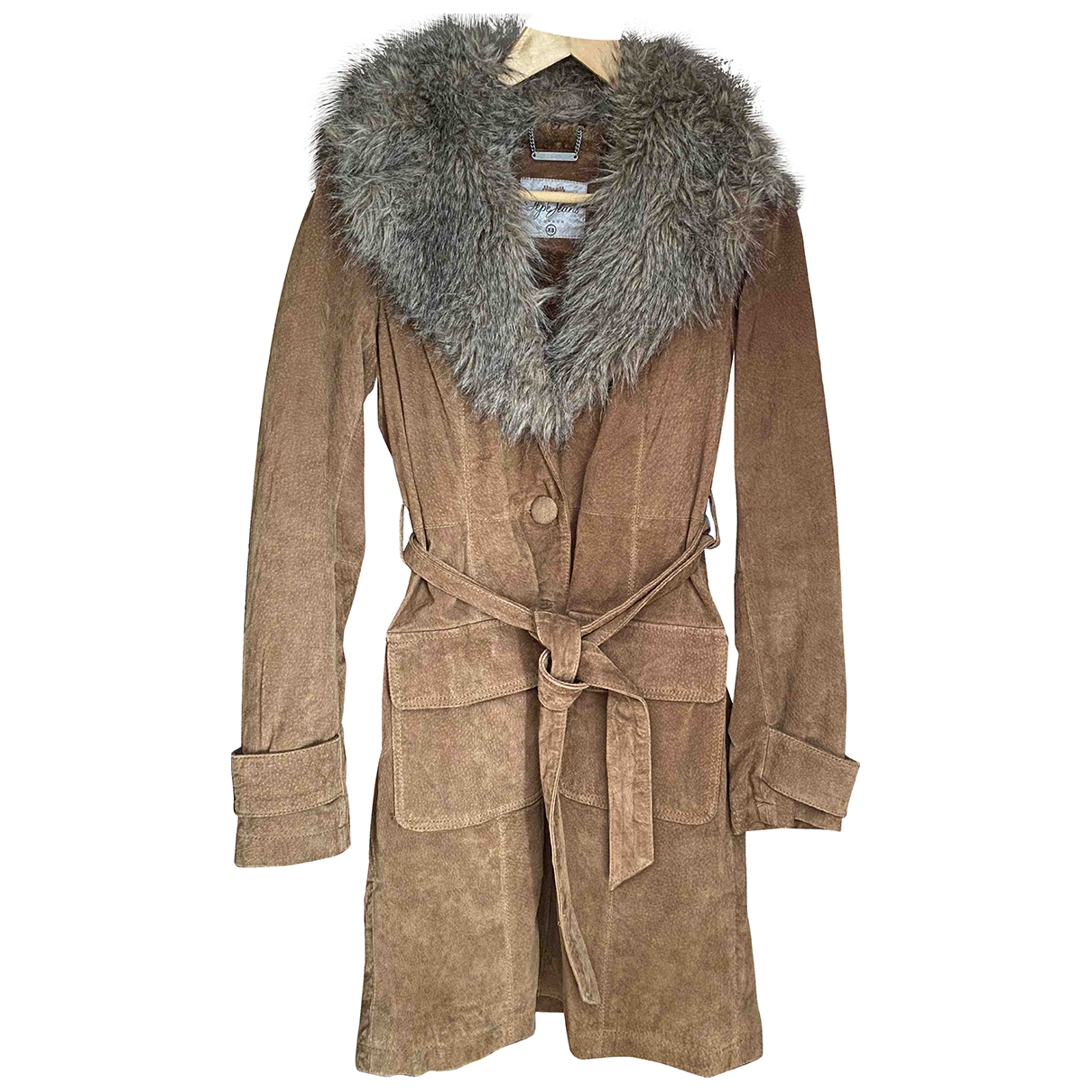 Non Signé / Unsigned \N Brown Leather coat for Women XS International