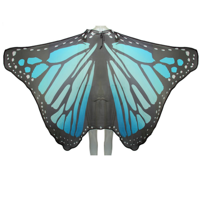 Women's Swimsuit Colorful Bikini Beach Cover Ups Butterfly Wings Pattern Chiffon