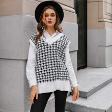 Split Hem Houndstooth Sweater Vest
