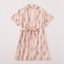 Toddler Girls Allover Cactus Belted Robe