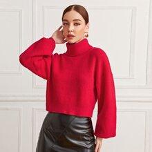 Pullover mit Rollkragen und Laternenaermeln