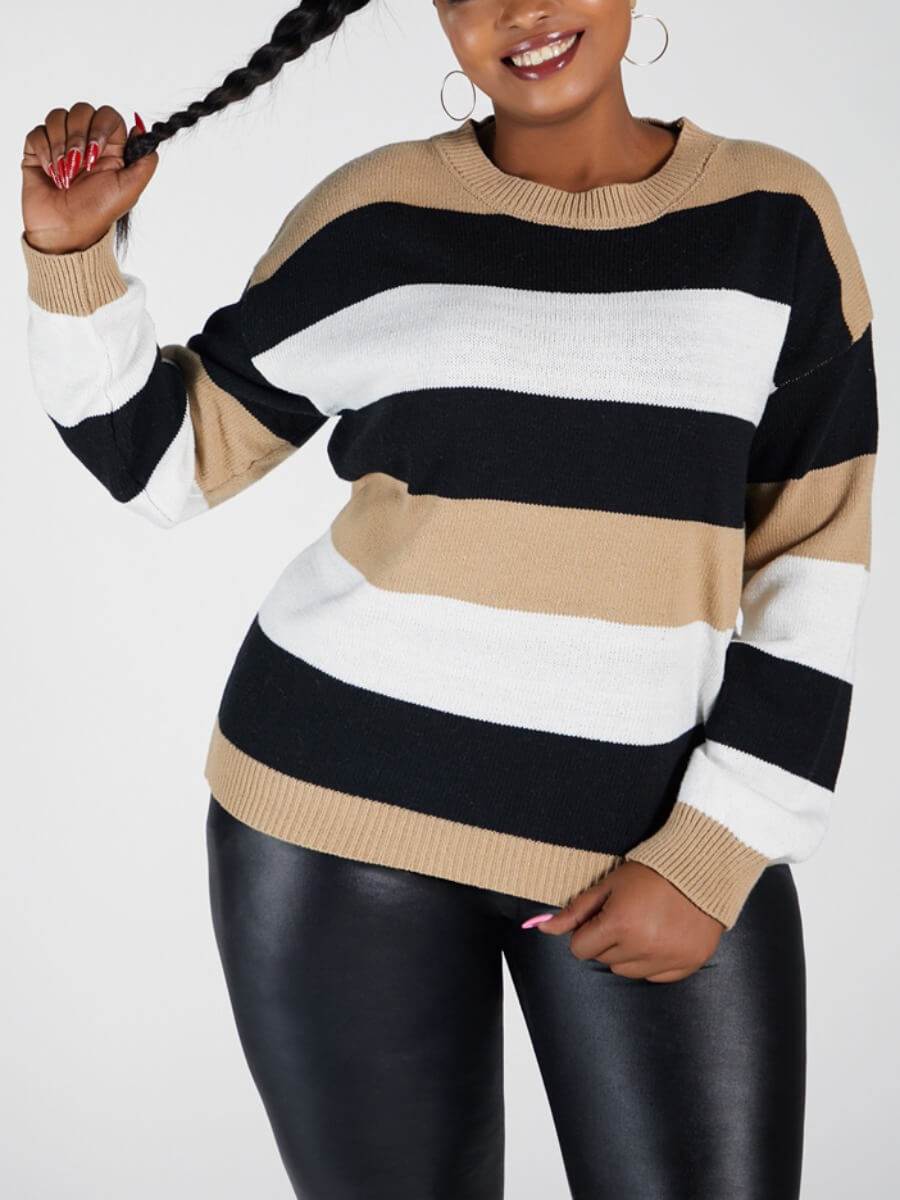 LW Lovely Casual O Neck Striped Patchwork Khaki Plus Size Sweater