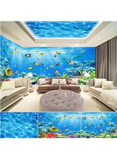 Blue Sea and Fish Pattern 3D Waterproof Ceiling and Wall Murals