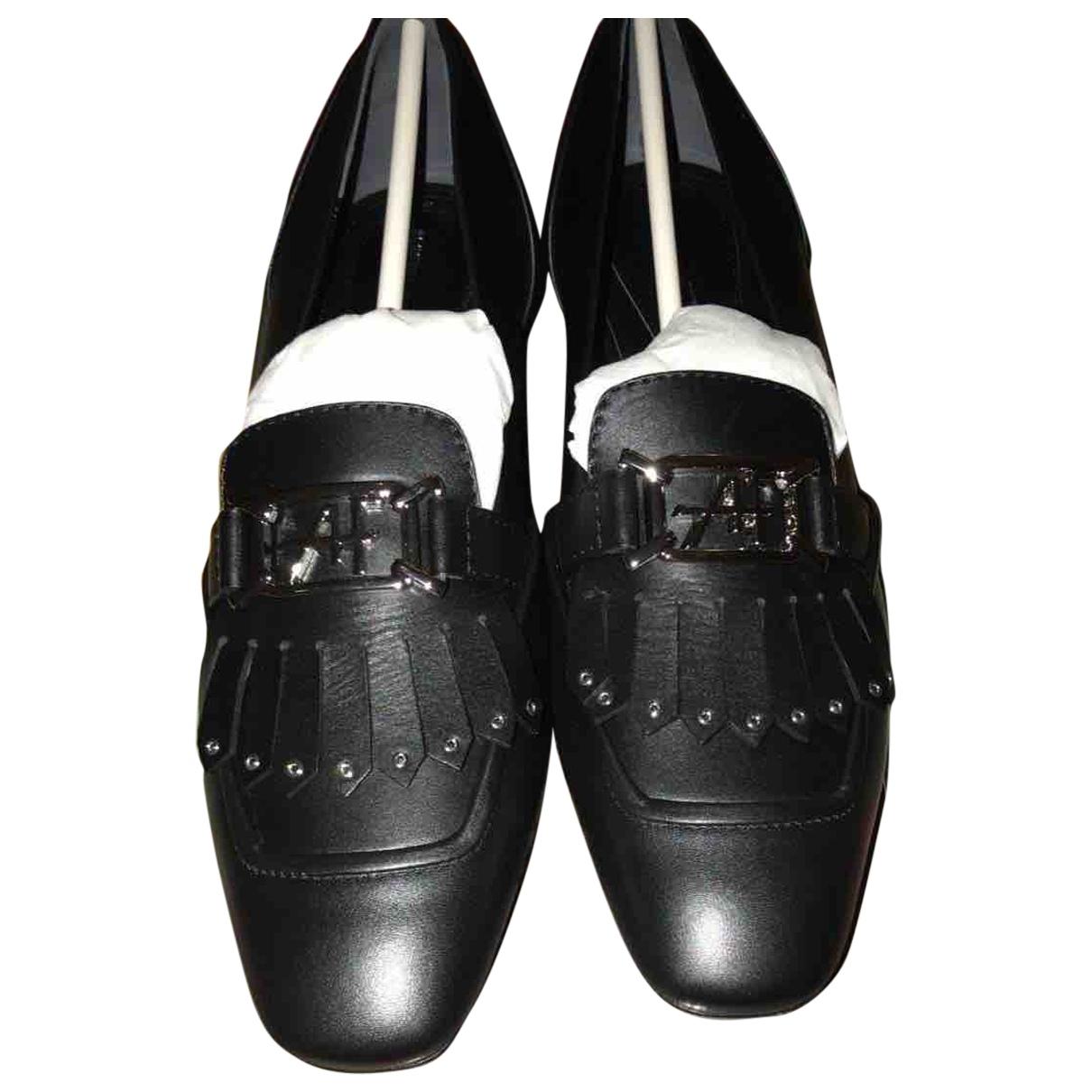 Alberta Ferretti N Black Leather Flats for Women 38 IT