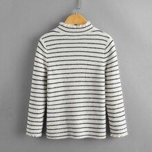 Pullover mit Streifen Muster und gekraeuseltem Saum