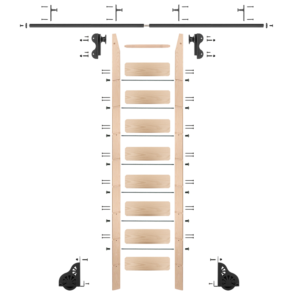 Rolling Hook 9-Foot Maple Ladder Kit with 8-Foot Rail and Vertical Brackets, Black