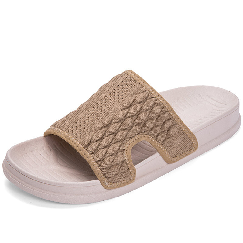 Men Pure Colr Fabric Breathable Light Weight Casual Slippers