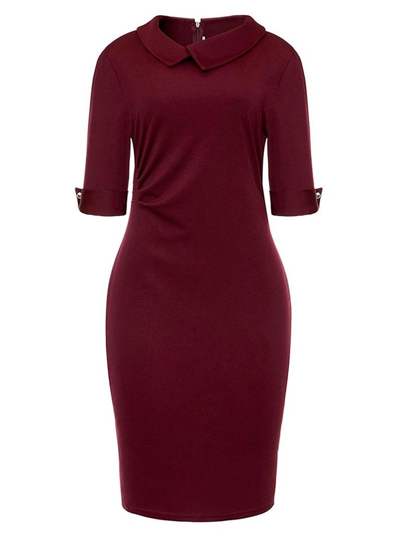 Ericdress Lapel Half Sleeve Pleated Women's Bodycon Dress